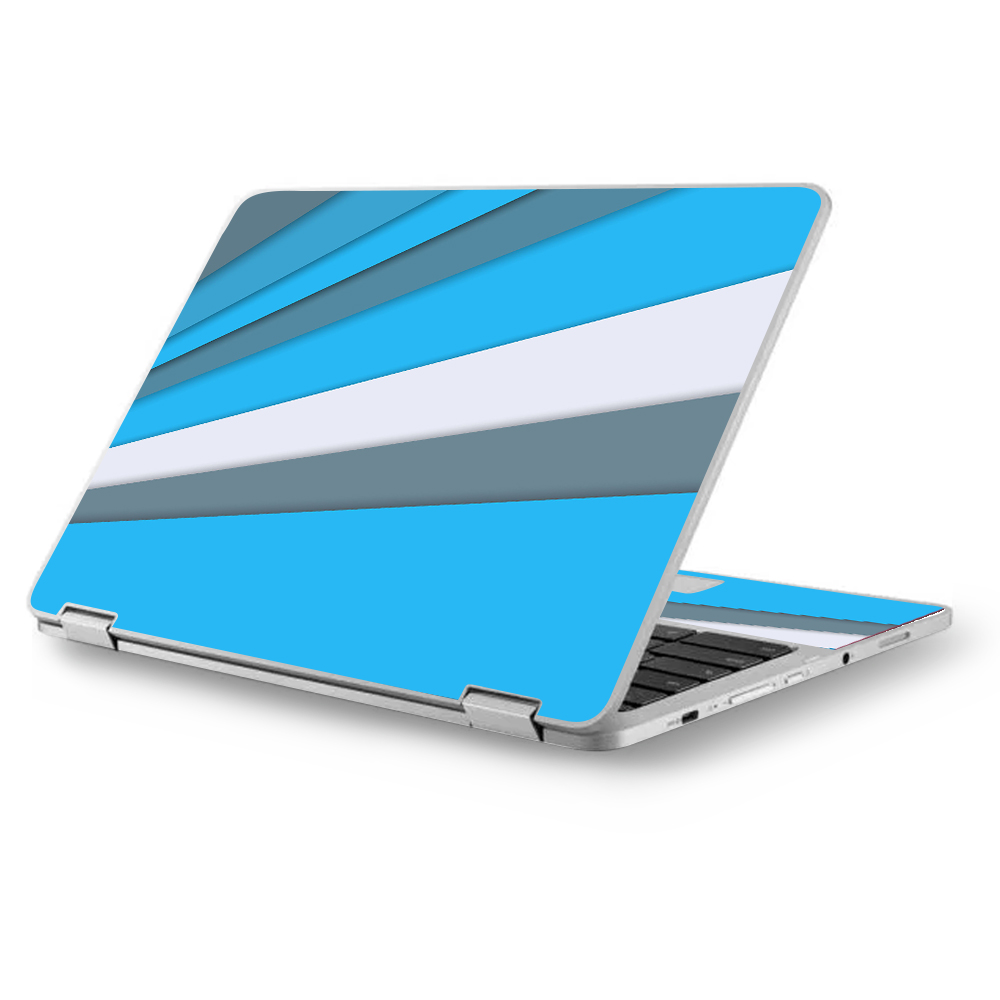 "Skins Decals for Asus Chromebook 12.5"" Flip C302CA Laptop Vinyl Wrap / Blue Abstract Pattern"