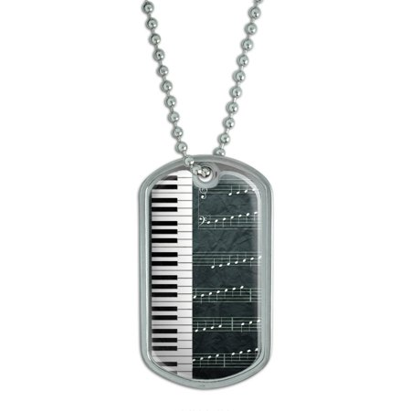 Piano Keys and Scales Grayscale - Music Notes Sheet Musician Dog Tag