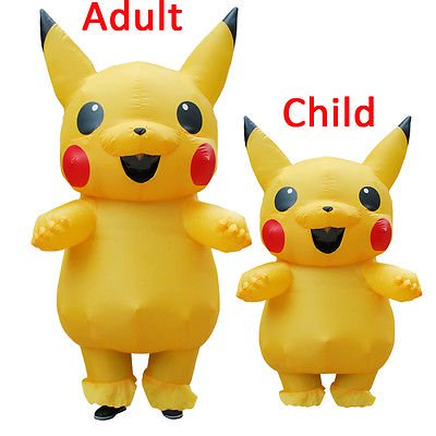 Funny Stupid Halloween Costumes (Adult Child Mascot Pikachu Inflatable Costume Cosplay Halloween Funny)