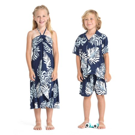1305a25c021a Matching Boy and Girl Siblings Hawaiian Luau Outfits in Palm Leaves ...