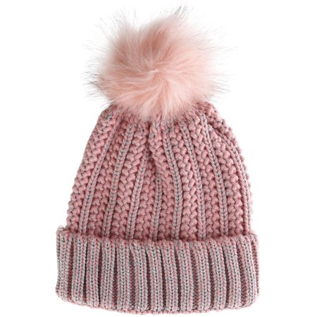 Women's Chunky Knit Cuff Cap with Metallic Coating and Faux Fur Pom