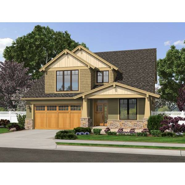 TheHouseDesigners-2305 Craftsman House Plan with Crawl Space Foundation (5 Printed Sets)