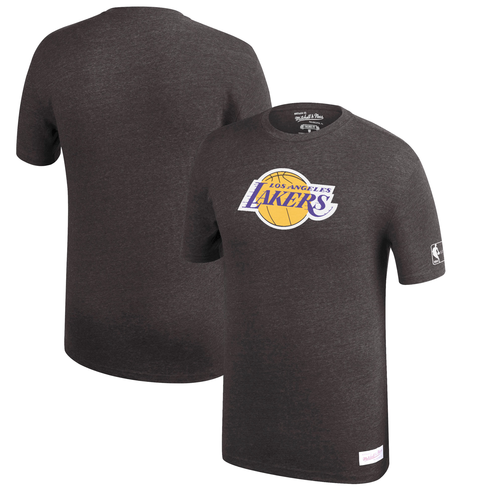 Los Angeles Lakers Mitchell & Ness Hardwood Classics Throwback Logo Tri-Blend T-Shirt - Heathered Black