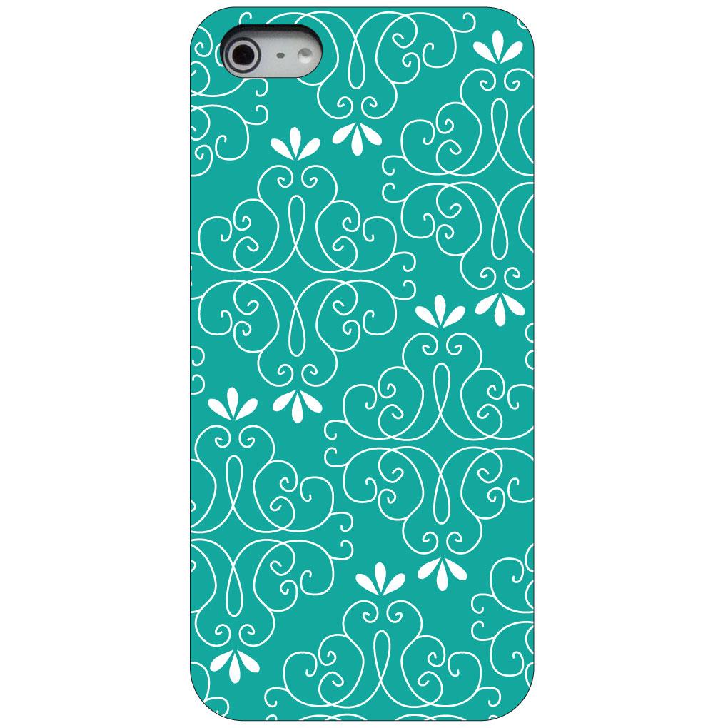 CUSTOM Black Hard Plastic Snap-On Case for Apple iPhone 5 / 5S / SE - Coral Blue White Floral