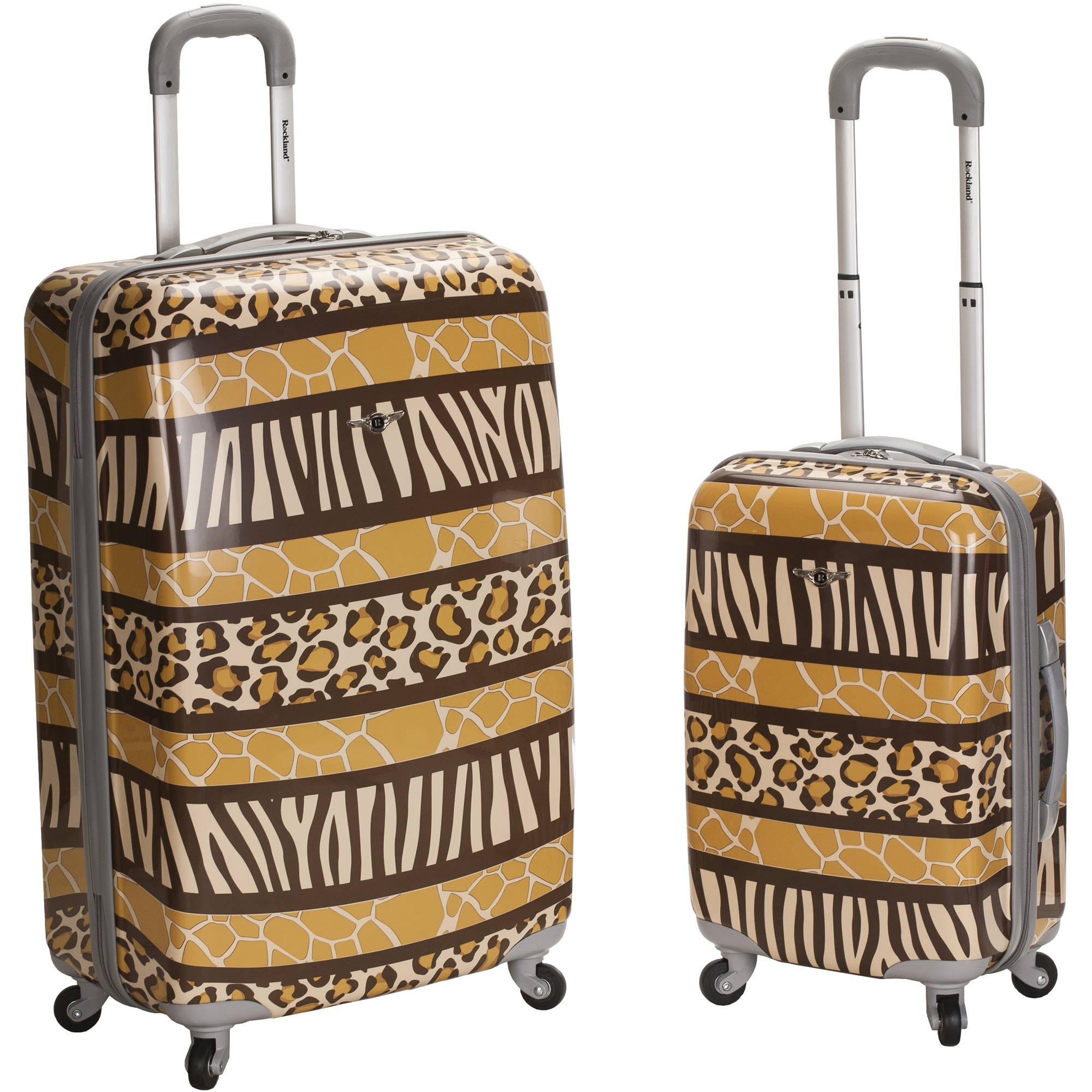Rockland Luggage 2-Piece Polycarbonate/ABS Upright Set, Brown