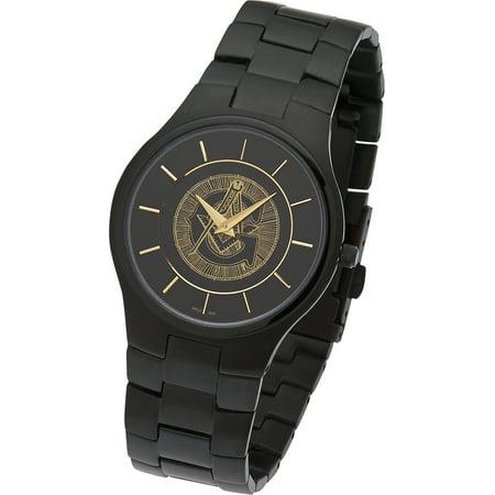 Men's Black Stainless Steel Freemason Masonic Blue Lodge Watch