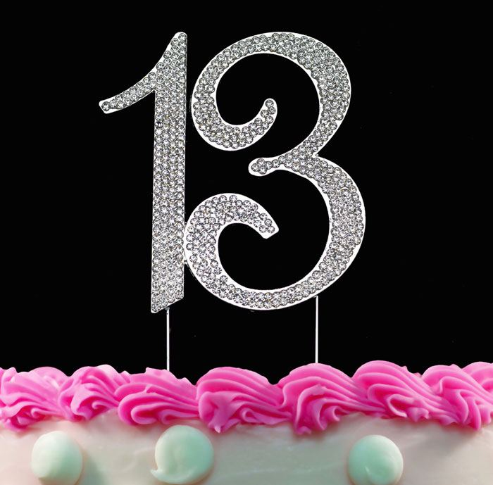 13th Birthday Cake Toppers Silver Bling Cake Topper 13 Birthday Decorations