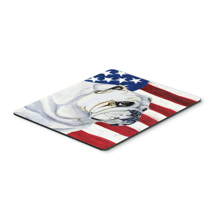USA American Flag with English Bulldog Mouse Pad, Hot Pad or Trivet