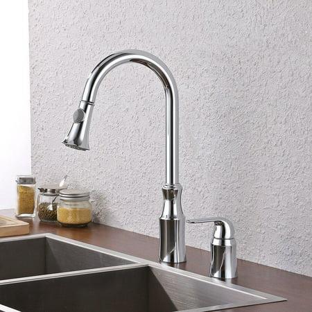 Kes Brass Pulldown Kitchen Faucet Brushed Nickel Single Handle 2
