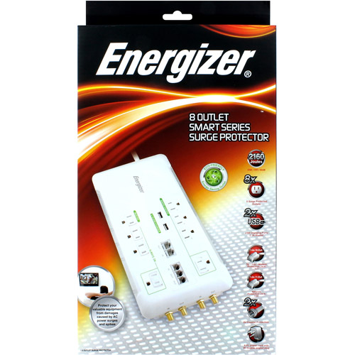 Energizer 8-Outlet Eco Friendly Surge Protector, White
