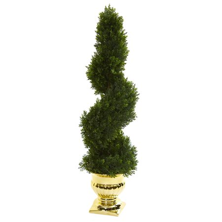 Nearly Natural 27 in. Cedar Spiral Artificial Topiary Tree in Gold Urn (Indoor/Outdoor)