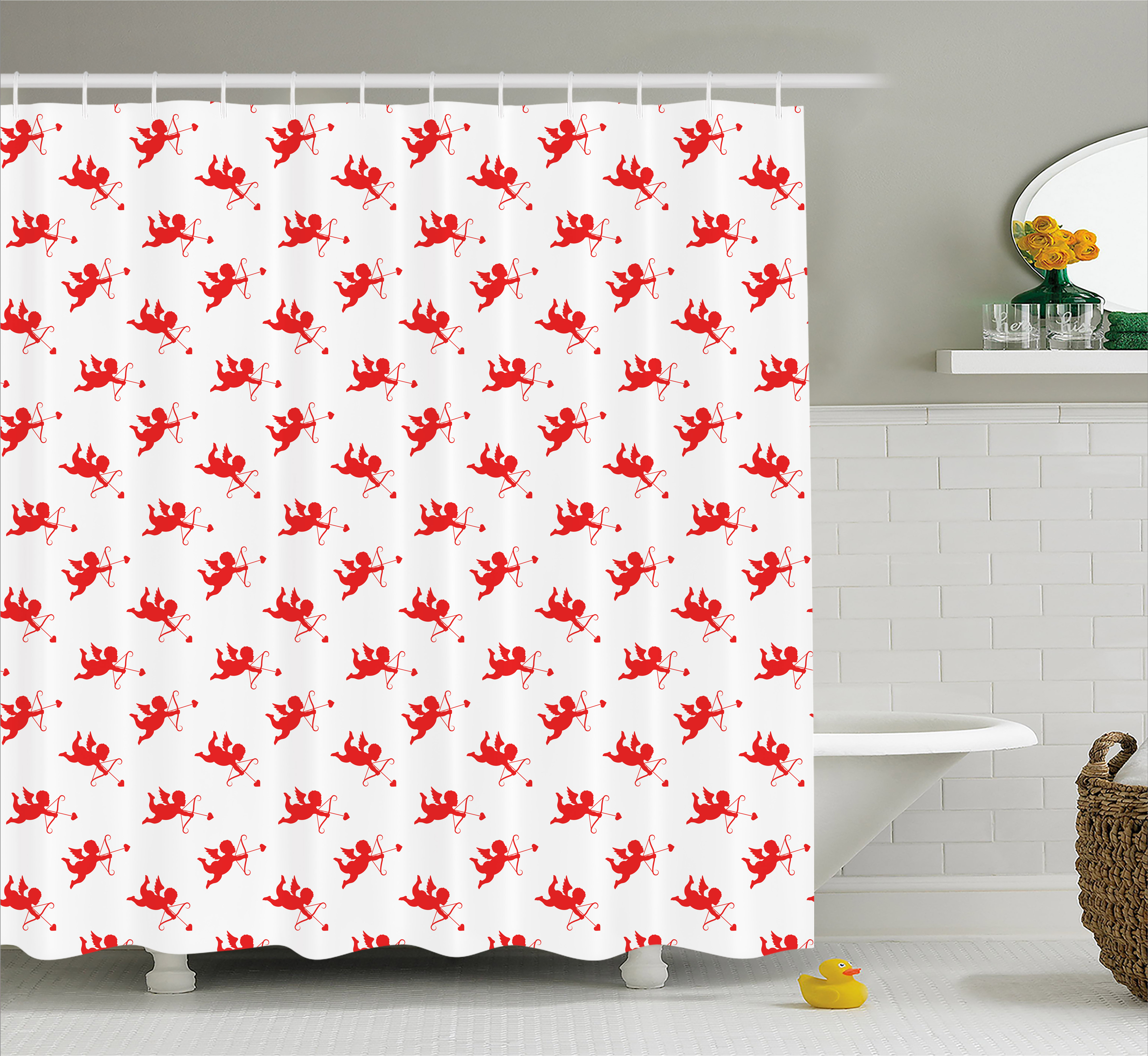 Angel Shower Curtain, Valentine Day Motif Sweet Kiss Love Icons Engagement Birsthday Affection Modern Art, Fabric Bathroom Set with Hooks, 69W X 84L Inches Extra Long, Red White, by Ambesonne