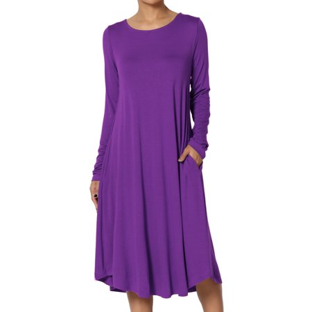 TheMogan Women's S~3X Long Sleeve Fit & Flare A-line Draped Jersey Midi (Long Jersey Dress)