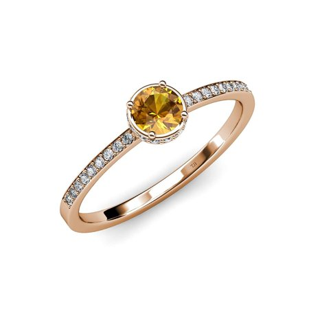 Citrine and Diamond (SI2-I1, G-H) Halo Engagement Ring 0.80 ct tw in 14K Rose Gold.size 7.0