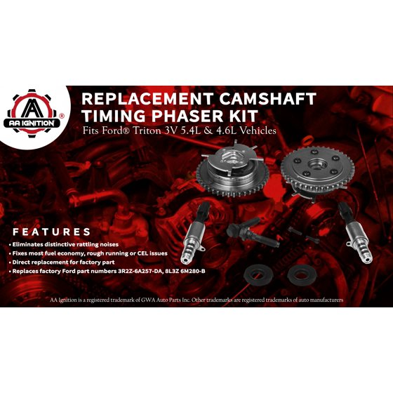 Variable Camshaft Timing Cam Phaser Kit - Replaces# 3R2Z6A257DA, 917-250,  3L3Z 6279-DAP, 8L3Z-6M280-B - Fits Ford F-150, Expedition & more - Triton