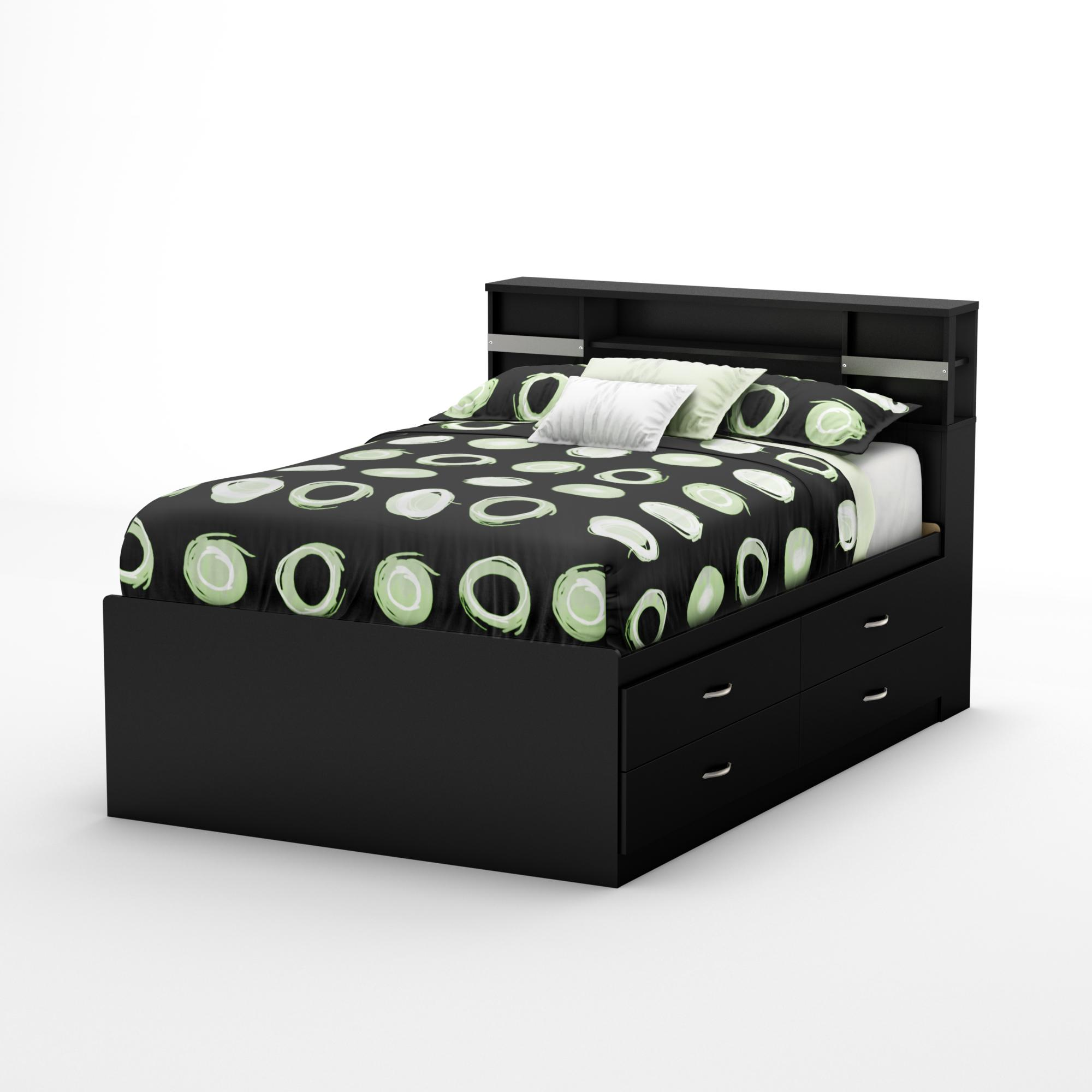 Step One Full Captains Bookcase Bed-Finish:Pure Black