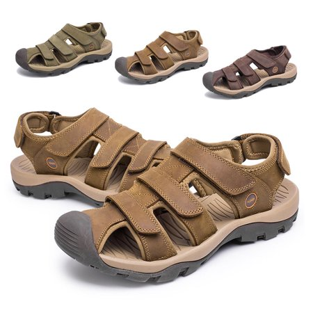 Men Cowhide Leather Outdoor Beach Sandals Men's Hiking Suede Leather