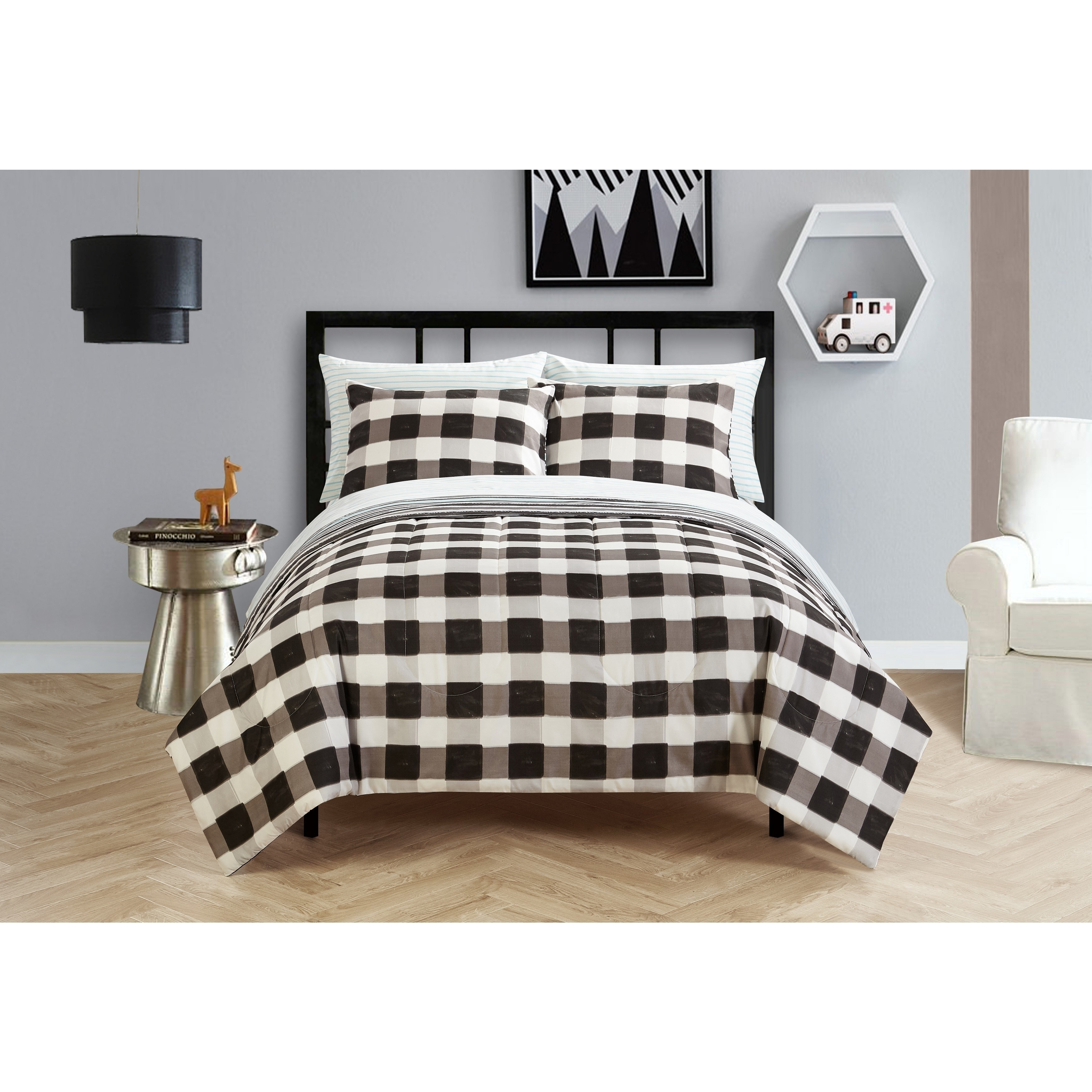 Heritage Club Black And White Checkered Bed In A Bag Bedding Set