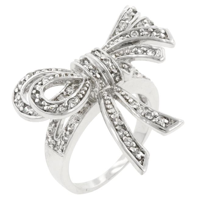 Kate Bissett R08043R-C01-08 Genuine Rhodium Plated Bow Inspired Fashion Ring with Round Cut Clear CZ in a Pave Setting