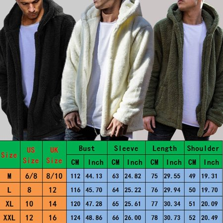 Men Winter Teddy Bear Tops Fluffy Fleece Fur Jacket Hoodies Coat Outerwear