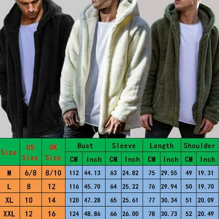 Coast Men Shirts (Men Winter Teddy Bear Tops Fluffy Fleece Fur Jacket Hoodies Coat Outerwear)