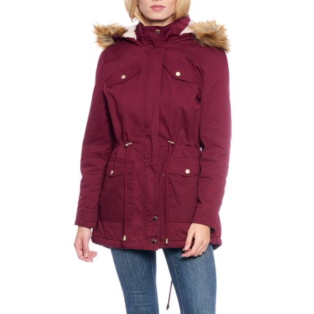 Women's Sherpa-Lined Cotton Parka with Detachable Hood