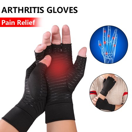 Arthritis Compression Gloves - Best Medical Copper Glove Guaranteed to Work for Rheumatoid Arthritis, Carpal Tunnel, RSI Osteoarthritis & Tendonitis Open in Fingers Fingerless Fit Size