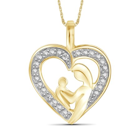 White Diamond Accent Gold over Silver Mother and Child Heart Pendant