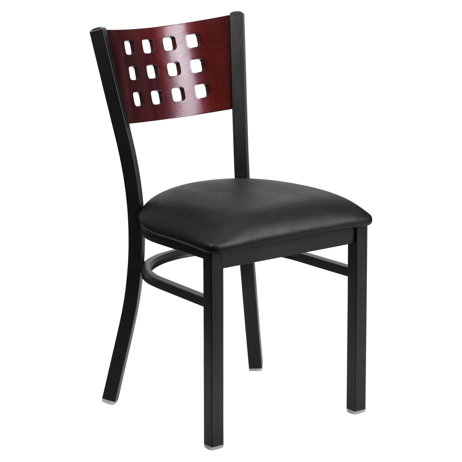 Flash Furniture HERCULES Series Black Decorative Cutout Back Metal Restaurant Chair, Mahogany Wood Back, Vinyl Seat, Multiple Colors