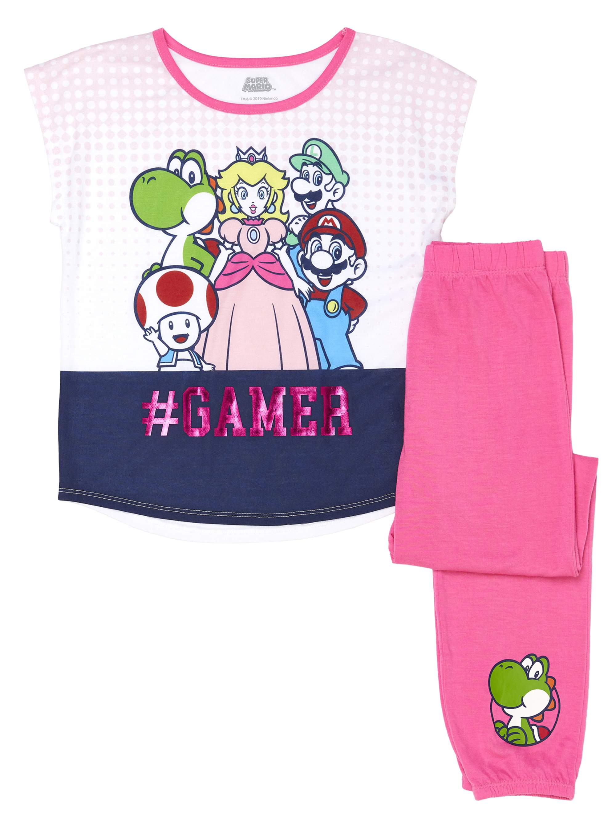 Girls' Super Mario Girl's Gamer 2 Piece Pajama Sleep Set (Little Girl & Big Girl)