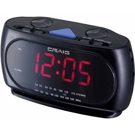 "Craig CR45372 1.2"" Dual Alarm Clock PLL AM/FM Radio"