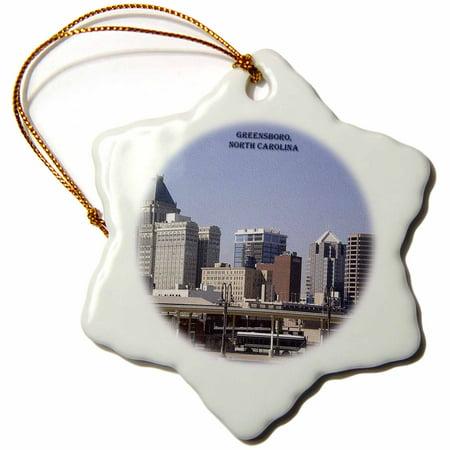 3dRose Greensboro, North Carolina - Snowflake Ornament, 3-inch ()