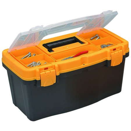 Voyager Toolbox Storage 19 In Tool box With Top Tray Orange Black 66491