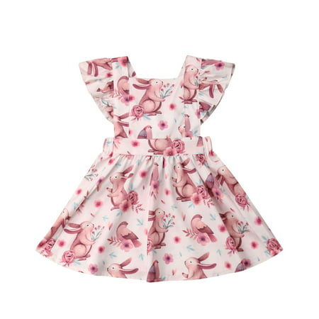 Toddler Baby Girl Bunny Dress Floral Sleeveless Backless Ruffle Princess Dresses Skirts Outfits