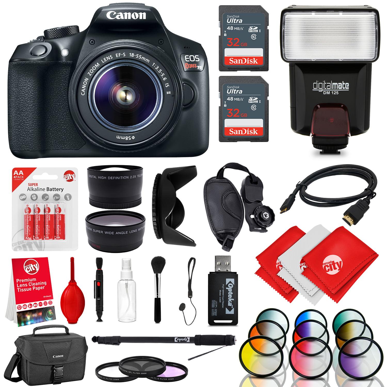 Canon EOS Rebel T6 18MP DSLR Camera w/ 18-55mm + Flash + ...