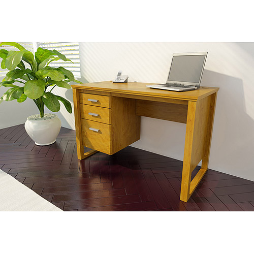 Bower Collection Single Pedestal 3-Drawer Desk, Alder