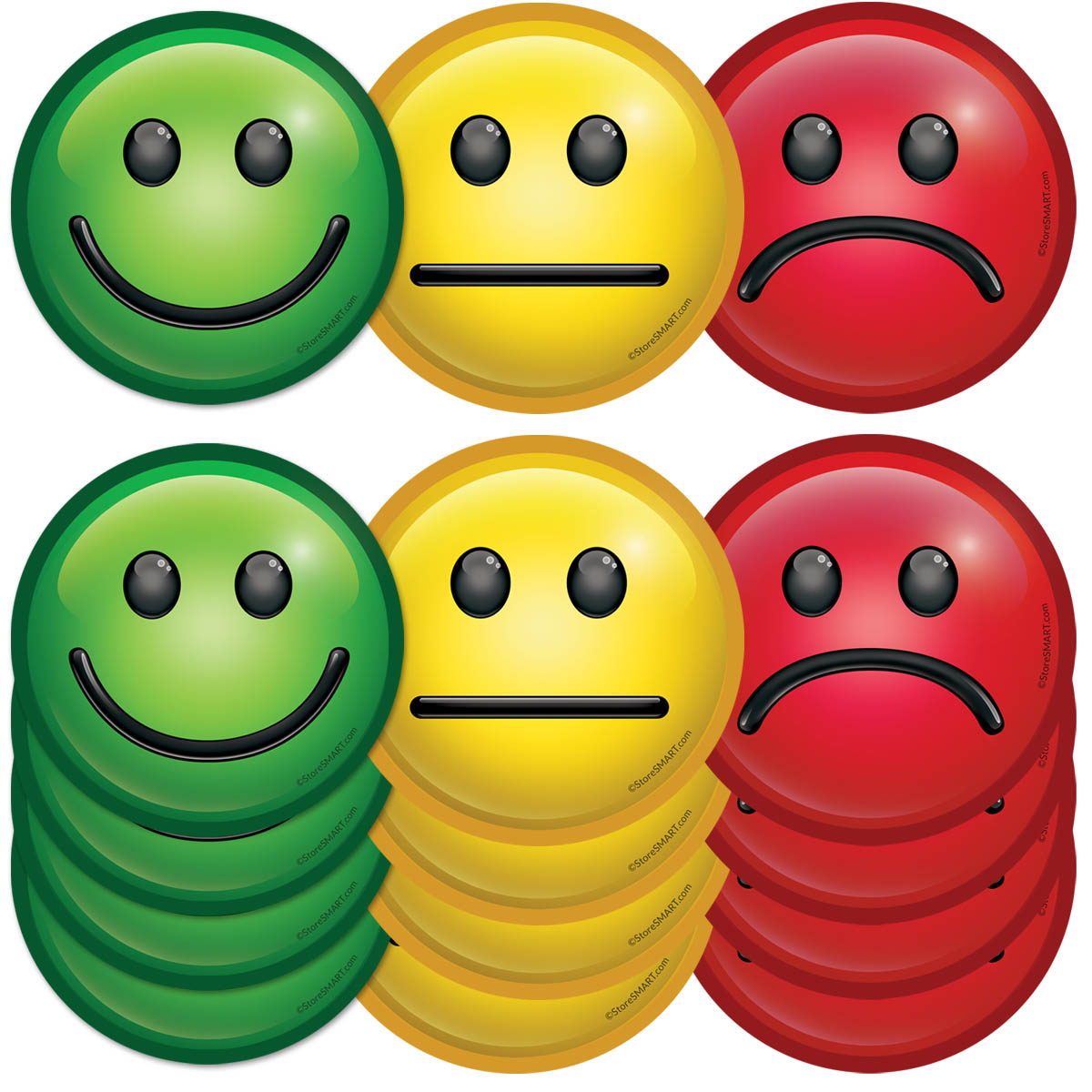 StoreSMART 3 Mood Magnets for Status Visualization FACE3-/_-50 50-Pack