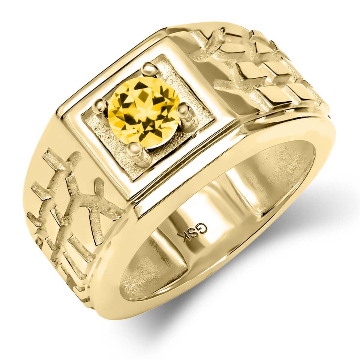 14K Yellow Gold Ring Set with Round Honey Topaz from Swarovski