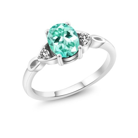 Blue Apatite Ring - 925 Sterling Silver 1.27 Ct Oval Blue Apatite White Diamond Solitaire Ring