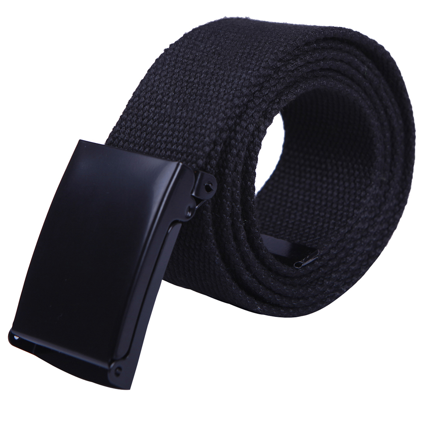 "HDE Mens Military Web Belt Canvas Adjustable Style with Metal Buckle 50"" Long (Black)"