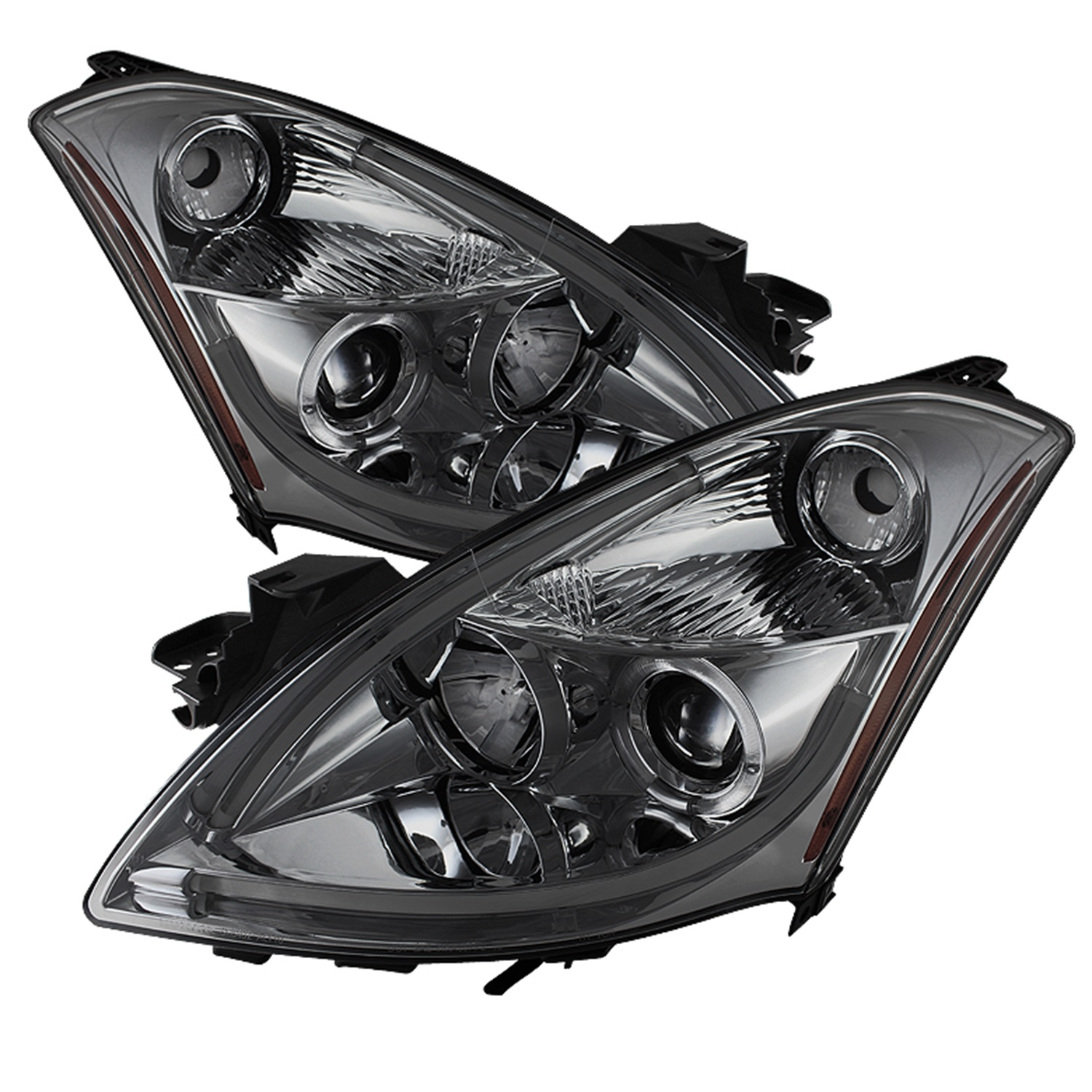 Spyder Nissan Altima 4Dr 2010-2012 Projector Headlights - Light Tube DRL - High H1 (Included) - Low H1 (Included) LED Halo - Smoke