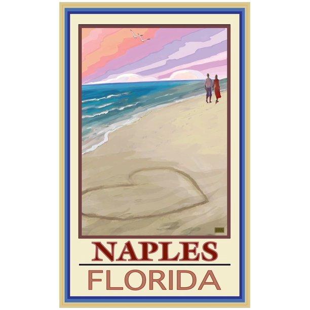 Naples Florida Love On Coast White Giclee Art Print Poster ...