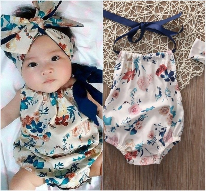 2PCS Newborn Infant Baby Girl Floral Romper Jumpsuit Playsuit Headband Outfit Set Clothes