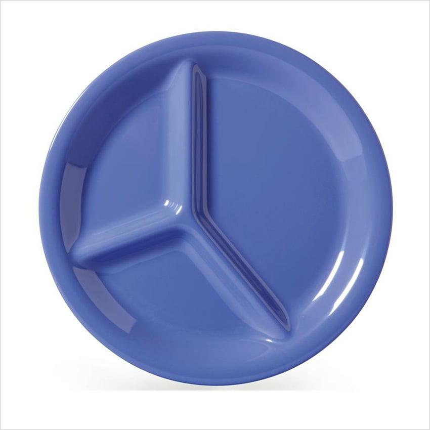 Diamond Mardi Gras 10.25 inch 3 Compartment Plate Peacock Blue Melamine/Case of 12