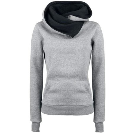 Women Casual Solid Hoodies Unisex Lapel Hooded Sweatshirts Pullovers Turn-down Collar Plus (Best Made Down Pullover)