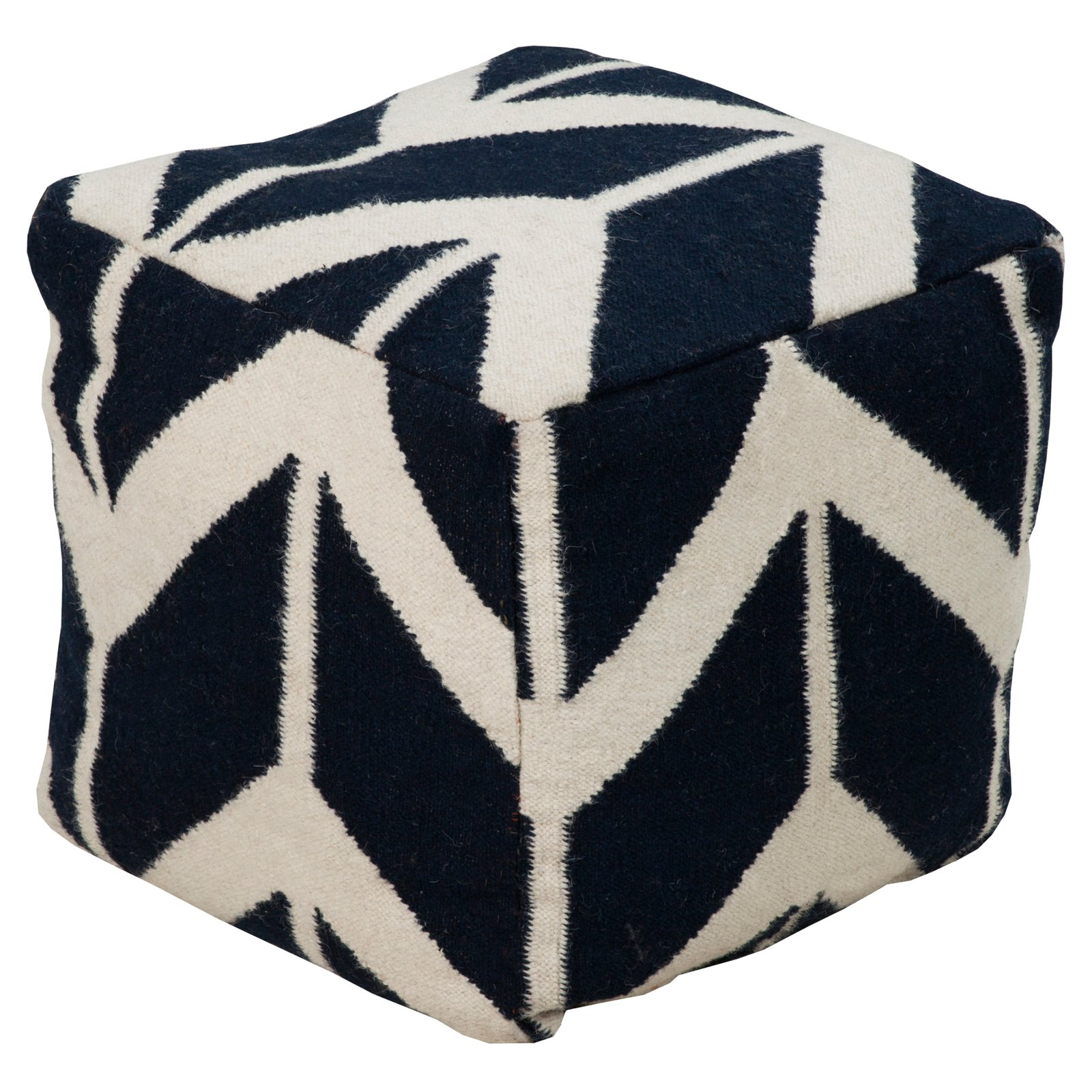 Surya 18 in. Corn Stalk Cube Wool Pouf by Surya