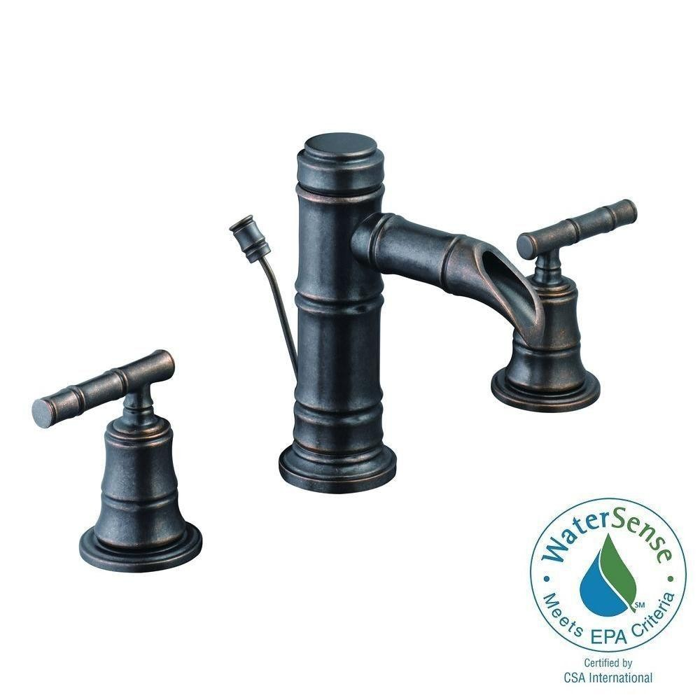Pegasus 67388W-8096H Bamboo 8 in. Widespread 2-Handle Low-Arc Bathroom Faucet in Heritage Bronze