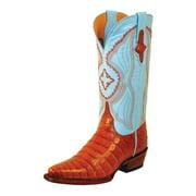Ferrini Western Boots Womens Caiman Belly Gator Cognac Blue 82461-02