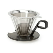 Primula Seneca Borosilicate Glass Coffee Dripper with Stainless Steel Filter, 1 Cup, Black