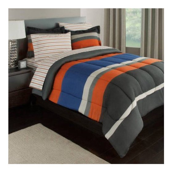 Gray Orange Amp Blue Stripes Boys Teen Twin Comforter Set